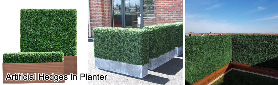 artificial hedges in planter
