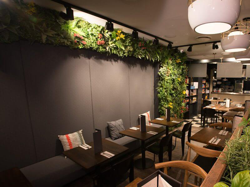 Artificial plants wall for creative restaurant design